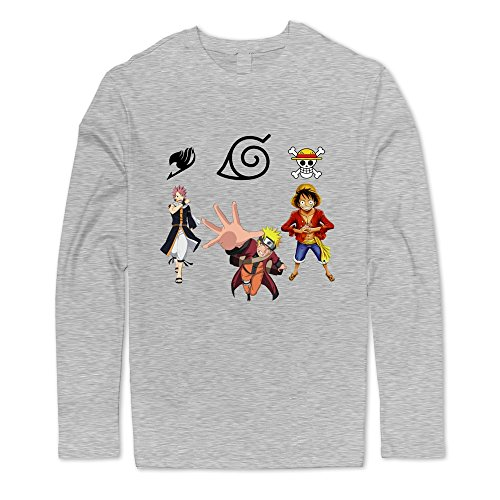 Naruto Promo Cards - Cool Naruto Fairy Tail One Piece Men's Long Sleeve Tshirt Ash Size M
