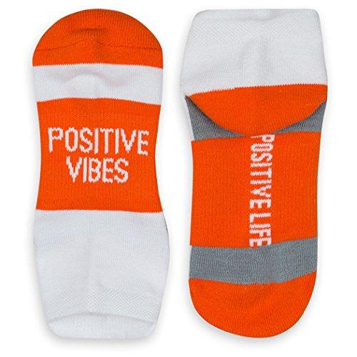 Inspirational Athletic Running Socks   Women's Woven Low Cut   Positive Vibes   Orange