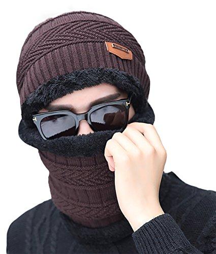 Marrón pañuelo Gorra con sombrero de caliente Hombre invierno gorrita de Eleter suave punto O7StvP