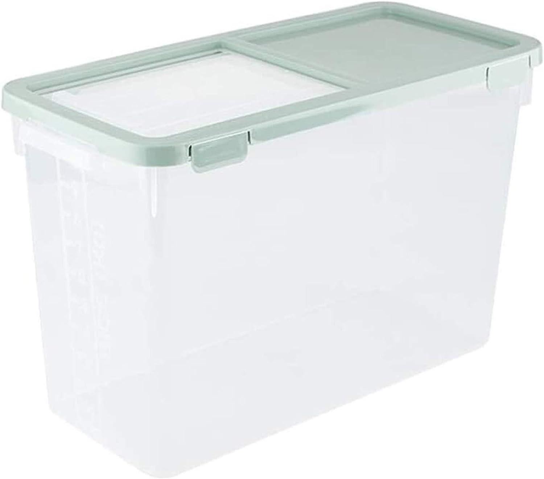Grain container 10KG Rice Storage Box Grain Container Kitchen Organizer Large Plastic Flour Rice Boxes Dust Proof Moisture Food storage (Color : Green)