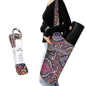 Anleobag Yoga Mat Bag + Yoga Strap Set, Heavy Duty Cotton Shoulder/Cross-Body Yoga Mat Carry Bag with Large Size Outside…