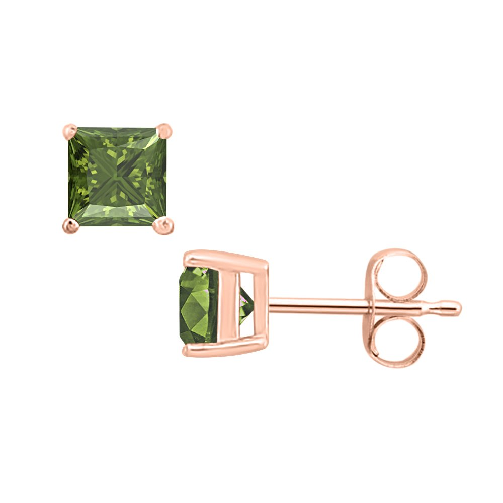 3MM TO 10MM tusakha Fancy Party Wear Princess Cut Green Tourmaline Solitaire Stud Earrings 14K Rose Gold Over .925 Sterling Silver For Womens /& Girls