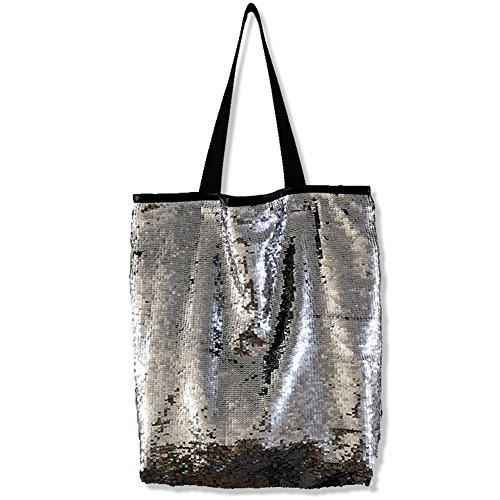 Women Sequin Tote Bag Reversible Sequin Bag Magnetic Buckle Handbag (Silver)