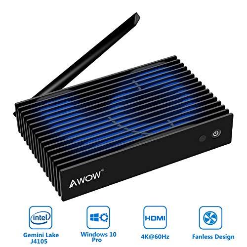 "AWOW NV41 Fanless Mini PC, Intel Gemini Lake J4105 4K@60HZ Windows 10 Pro Desktop Computer, 4GB DDR4 64GB /Support 2.5"" SATA HDD/M.2 SSD/Dual Band Wi-Fi/Gigabit Ethernet Mini Computer"