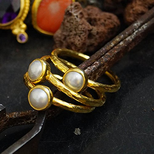 925 k Sterling Silver 3 Pcs White Pearl Ring Set 24k Yellow Gold Vermeil, Turkish Jewelry Ring, Stacking Ring Set, Handcrafted Jewelry, Artisan Jewelry, Women Ring, Roman Art