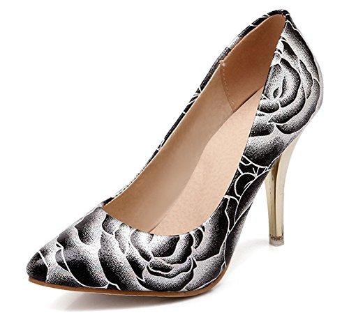 Chfso Mode Féminine Bout Pointu Talon Haut Talon Pompes Chaussures Noir