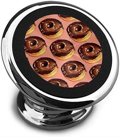 チョコレートドーナツパターン 携帯電話ホルダー おしゃれ 車載ホルダー 人気 磁気ホルダー 大きな吸引力 サポートフレーム 落下防止 360度回転
