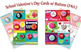 B-THERE School Valentine Day Cards with Buttons Fun & Cute Illustrated Cards with Matching Buttons for Kids Valentines Day, 24 Count