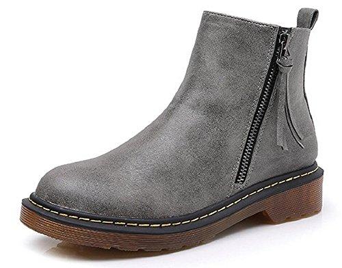 Jiye Kvinner Sko Skinn Glidelås | Elastisk Bånd Lav Hæl Ankel Boots Glidelås-grå