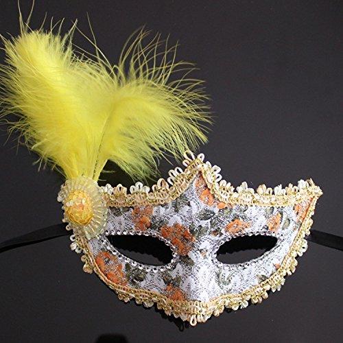 Damjic Halloween Feather Masks Beauty Princesses Makeup Parties Mask Parties Half Face Masks N -