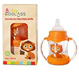 Insane 4 Day Sale Expires 9/11/16 GoGlass Borosilicate Glass Baby Bottle 4 oz BPA Free With Extra Nipple Included Free (Orange) - Best Feeding Bottles For Preemie, Newborns, Infants, and Toddlers