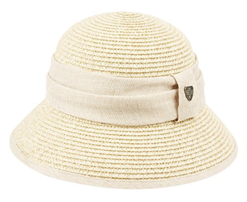 Women's Gatsby Linen Cloche Hat with Lace Band and Flower (CL2797NATURAL)