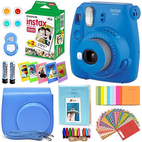 FujiFilm Instax Mini 9 Instant Camera Cobalt Blue + Fuji INSTAX Film (20 Sheets) + Custom Camera Case + Instax Album + 60 Colorful Stickers + 20 Emoji Stickers + Fun Frames + 4 Colored Filters + More