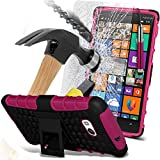 ( Hot Pink ) Nokia Lumia 930 Case Case Tough Survivor Hard Rugged Shock Proof Heavy Duty Case W/ Back Stand, Explosion Reinforced Tempered Glass Screen Protector & Retractable Stylus Pen by ONX3®