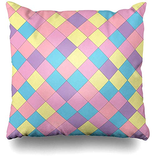 Throw Pillow Cover Cushion Cases Green Checkered Simply Geometric Pattern Copy Space Your Abstract Color Mosaic Plaid Retro Tartan Home Decor Design Square Size 18