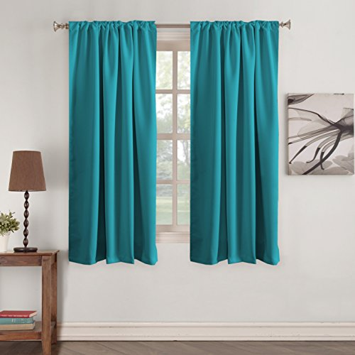 Turquoize Window Treatments Drapes Teal Window Treatments Drapes Back Tab/Rod Pocket Blackout Curtain Panels Room Darkening Thermal Insulated Curtain 2 Panels, 52 x 63 Inches, Teal Blue