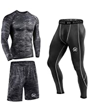 MeetHoo Men's Compression Base Layer Set, Sports Long Johns Gym Leggings Workout Clothes for Running Cycling