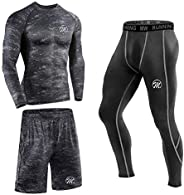 MeetHoo Men's Compression Base Layer Set, Sports Long Johns Gym Leggings Workout Clothes for Running Cyc