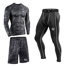 MEETEU Ensemble Compression Homme Tenue Sport Fitness Vêtement Running Tee Shirt Compression Legging Collant Sport Running Jogging Cyclisme