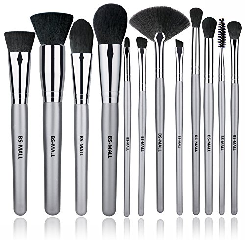 BS-MALL 12 PCS Makeup Brush Set Premium Synthetic Silver Foundation Blending Blush Face Powder Brush Makeup Brush Kit