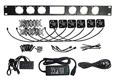 Coolerguys 1U Bracket with (6) 40mm Med Speed CG fans / Programmable Thermal Controller / and AC wall adapter kit