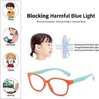 TR90 Montatura Occhiali Protettivi Luce Blu per Videogiochi per Bambini Anti raggi UV Occhiali per PC Trasparente Lente Filtro Luce Blu Occhiali per Computer Occhiali Anti Blu per Bambini