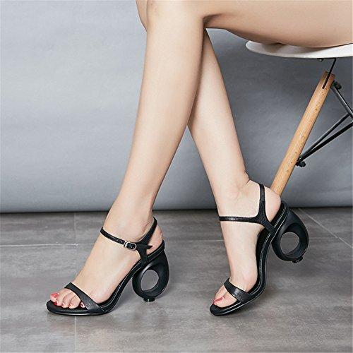 40 Caviglia Bianca Pelle In Nvxie Zeppa Taglia Punta Nera A Aperti 35 Black Con Cinturino Sposa Donna Scarpe Aperta Alla Sandali qXXOAy7Hw