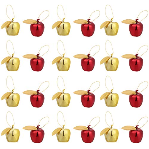 Amosfun 24pcs Mini Hanging Apple Ornaments Christmas Tree Decoration Christmas Baubles for Xmas Holiday Party Decoration Supplies (Red Golden) (Cheap Ornaments Apple)