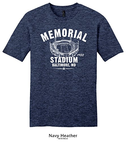 Throwbackmax 1953 Memorial Stadium Baltimore Colts Football Tee Shirt (Large, Navy Heather)