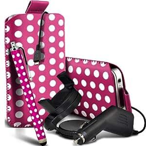 Nokia Lumia 925 Protección Premium Polka PU ficha de extracción Slip Cord En cubierta de bolsa Pocket Skin rápida Con Large Matching Stylus Pen, Micro 12v cargador USB para el coche y 360 Sostenedor giratorio del parabrisas del coche cuna Hot Pink & White por Spyrox