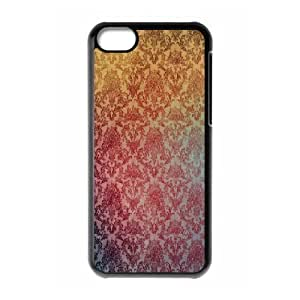 iPhone 5C Case,Damask Pattern Abstract Hard Shell Back Case for Black iPhone 5C Okaycosama375193