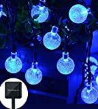Christmas Solar String Light ,20ft 30LED Fairy String Lights Bubble Crystal Ball Lights Decorative Lighting for Garland,Garden, Home, Patio, Lawn, Party ,Holiday ,Ooutdoor Decor (blue)