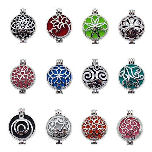 Julie Wang 24pcs Mixed Silver Locket for Aromatherapy Essential Oil Diffuser Pendant Necklace