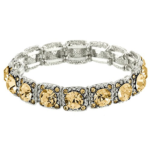 Stretch Bracelet Box - Falari Crystal Stretch Bracelet Wedding Bracelet Gift Box Included (Light Topaz)