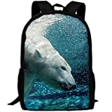CY-STORE Polar Bear Swims Underwater Animal Outdoor Shoulders Bag Fabric Backpack Multipurpose Daypacks For Adult