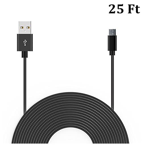20 Ft Power Cable for WyzeCam, Amazon Cloud Cam, YI Dome Camera, Arlo Q  Camera, Nest Cam, Dropcam, And Furbo Dog Camera USB to Micro USB Extension