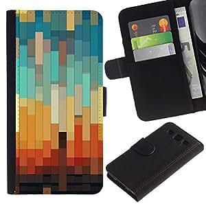 [Neutron-Star] Modelo colorido cuero de la carpeta del tirón del caso cubierta piel Holster Funda protecció Para Samsung Galaxy S3 III i9300 i747 [3D del trullo en colores pastel Naranja Marrón]