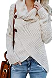 BBX Lephsnt Womens Sweater Long Sleeve Cowl Neck Wrap Button Loose Knit Pullover Tops