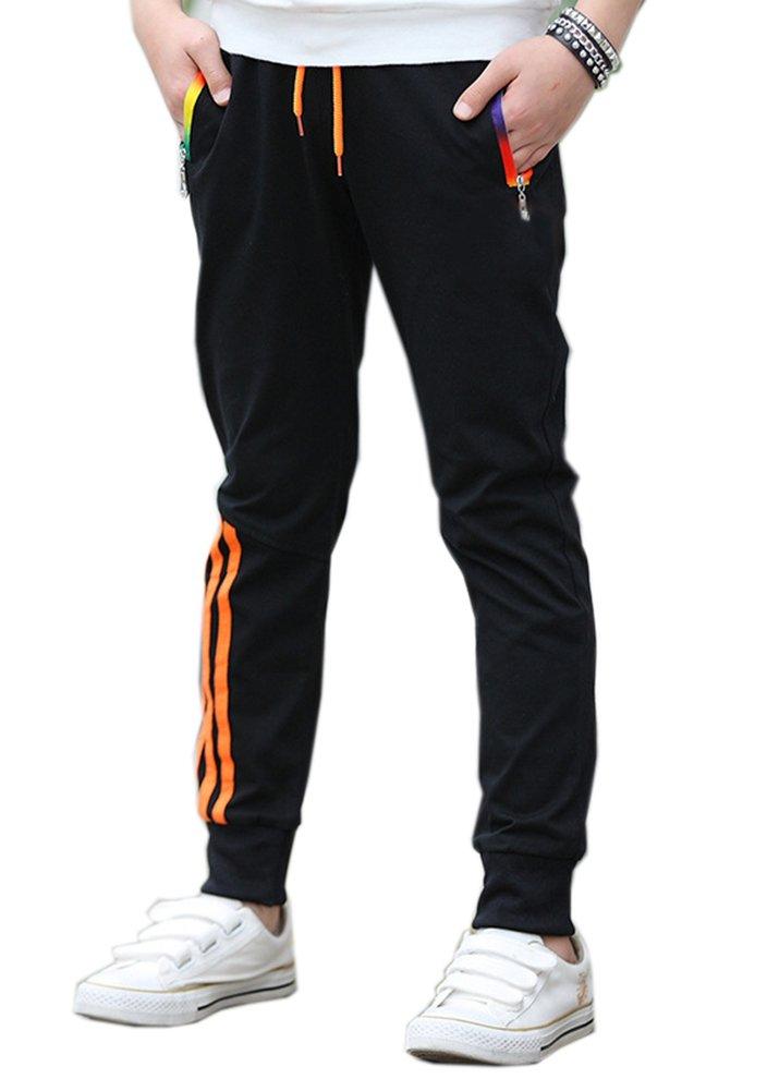 Kihatwin Big Boy's Jogger Pants Regular Zipper Athletic Pants for Boys and Youth Black 5