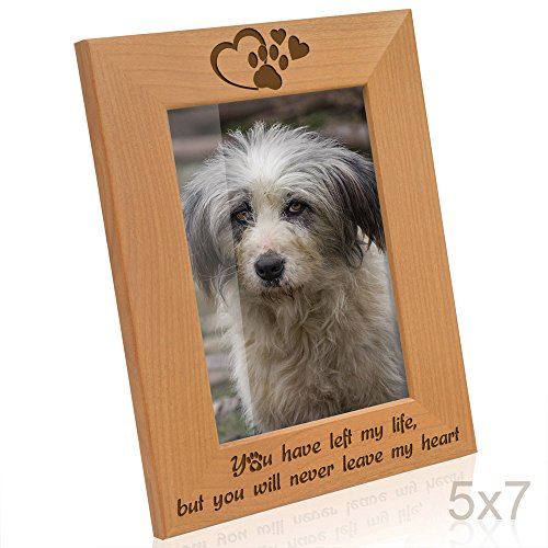 Kate Posh You Have Left My Life, but You Will Never Leave My Heart Natural Wood Engraved Picture Frame, Paw Prints on My Heart Memorial Gifts for Cat or Dog, Pet Sympathy Memory Gift (5x7 Vertical) - Pictures Cats Dogs