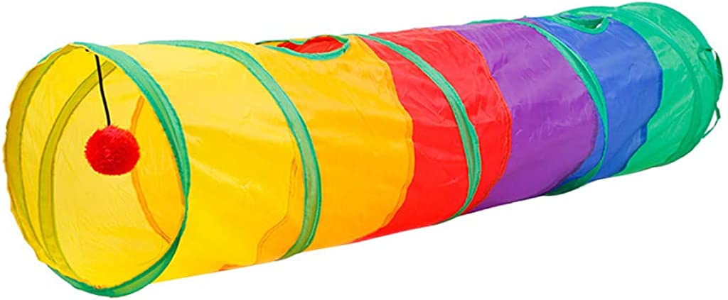 Cats Hot Pink Ferrets Vorname Pet Agility Tunnel Outdoor Training and Exercise Equipment for Dogs Puppies Pet Cat Dog Tunnel 2 Holes Game Tube Ball Folding Fold Game Tunnel Tube Kittens