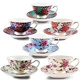 BTäT- Tea Cups, Tea Cups and Saucers Set of 6, Tea Set, Floral Tea Cups (7oz), Cappuccino Cups, Latte Cups, Tea Set for Adults, Porcelain Tea Cups, Tea Cups for Tea Party, Rose Teacups, China Tea Cups