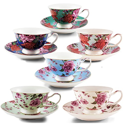 BTT- Tea Cups, Tea Cups and Saucers Set of 6, Tea Set, Floral Tea Cups (7oz), Cappuccino Cups, Latte Cups, Tea Set for Adults, Porcelain Tea Cups, Tea Cups for Tea Party, Rose Teacups, China Tea Cups
