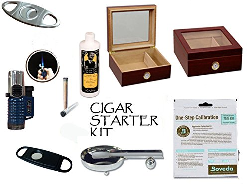 50 Count Cigars Glasstop Cherry Humidor Cutters Lighter Cigar Caddy Gift Set & Calibration Kit 50 Count Cigar Humidor