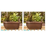 Deck Rail Planter 24 in. Chocolate Plastic Deck Rail Planter - 2 Pack