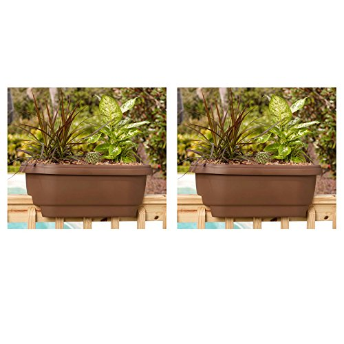 Deck Rail Planter 24 in. Chocolate Plastic Deck Rail Planter - 2 Pack by Bloem/Adp