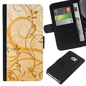 KLONGSHOP // Tirón de la caja Cartera de cuero con ranuras para tarjetas - Textura floral amarillo - Samsung Galaxy S6 EDGE //