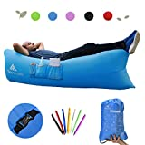 Inflatable Lounger by Hikenture – Air Lounger Quickly Inflation - Air Sofa with Compact Package Lightweight 2.2lbs - Air Inflatable Chair for Camping, Beach, Music Festivals and Travelling (Blue, Red, Green & Black)