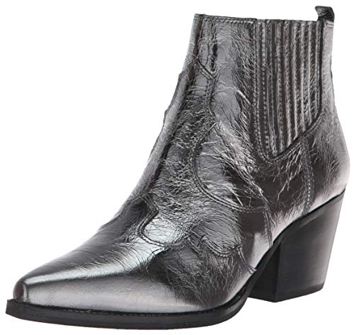 (Sam Edelman Women's Winona Western Boot, Anthracite Metallic Leather, 6.5 M US)