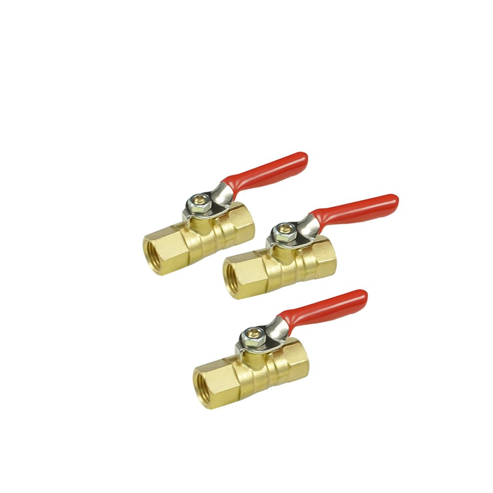NIGO AN00 Series Forged Brass Inline Mini Ball Valve, 1/4'' NPT Female x 1/4'' NPT Female, 180 Degree Operation Lever Handle, Rated to 600WOG - 3 Pack